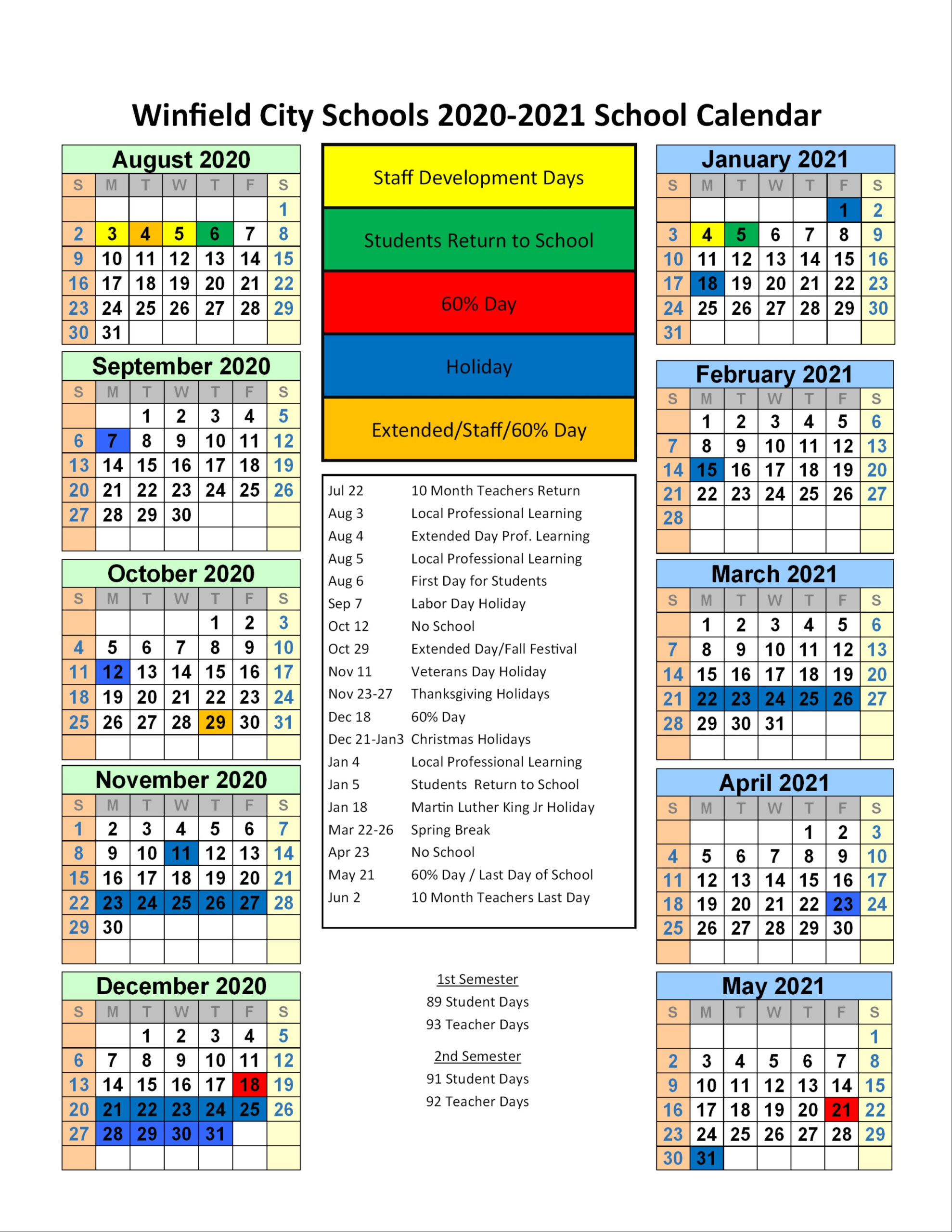 Winfield City Schools Calendar 2020 And 2021 for 2022- 2022 Bakersfield City School Districtcalendar
