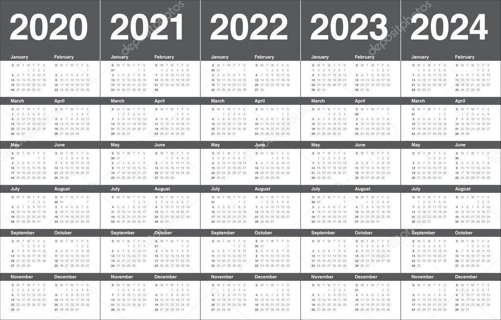 Year 2020 2021 2022 2023 2024 Calendar Vector Design with regard to 2022 2023 School Calendar North Penn
