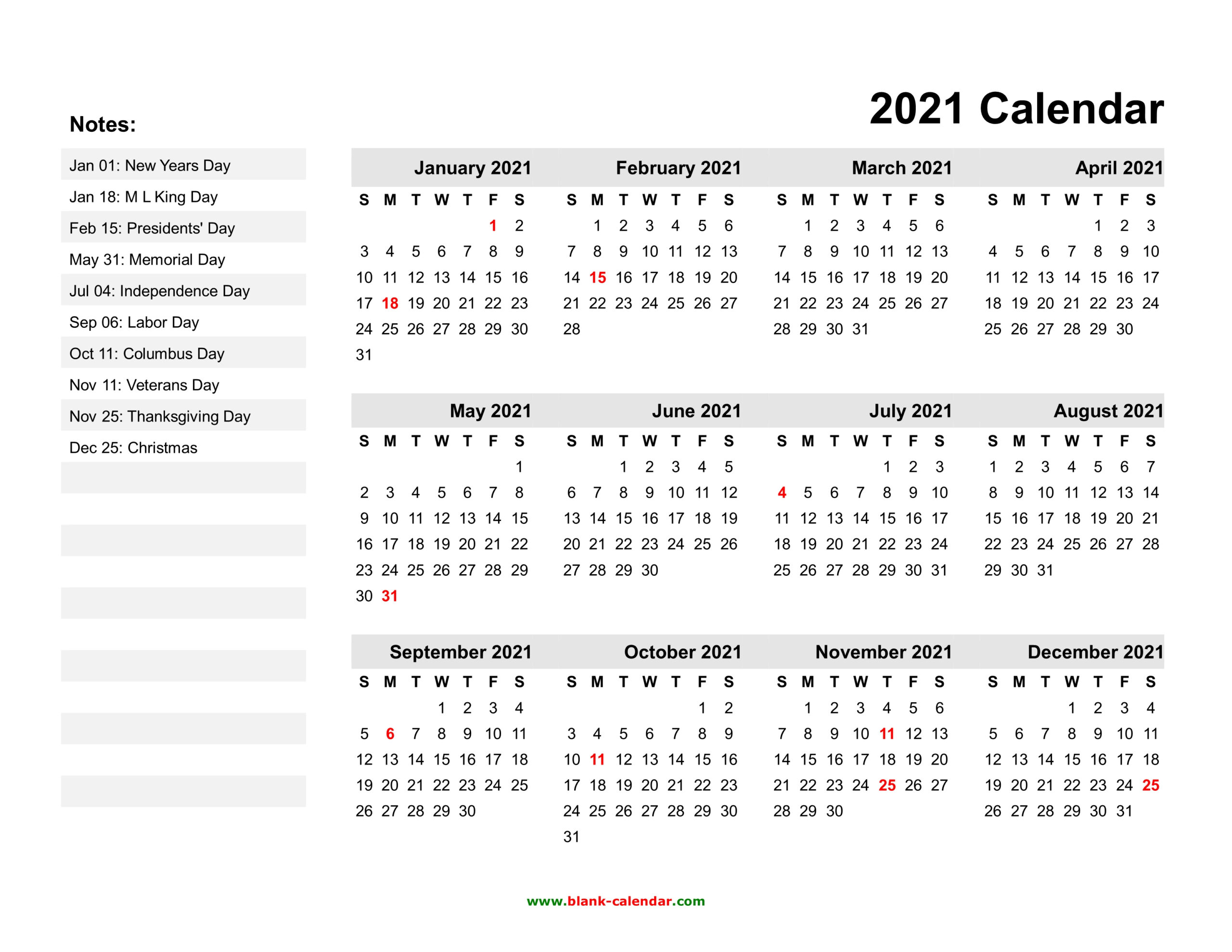 Yearly Calendar 2021   Free Download And Print for Are Daily Holiday Calendars Copyright