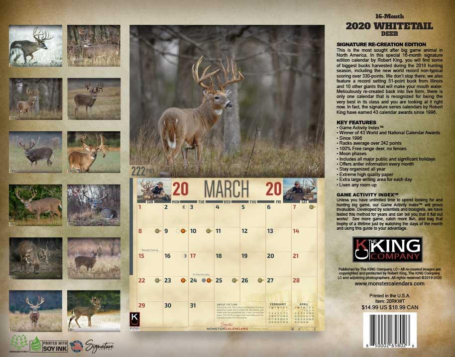 2020 Whitetail Deer Calendar, 2020 Whitetail Buck Calendar inside Hunting Moon Calendar 2022