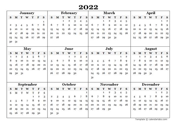 2022 Blank Yearly Calendar Template - Free Printable Templates in Free Printable Julian Date Calendar 2022