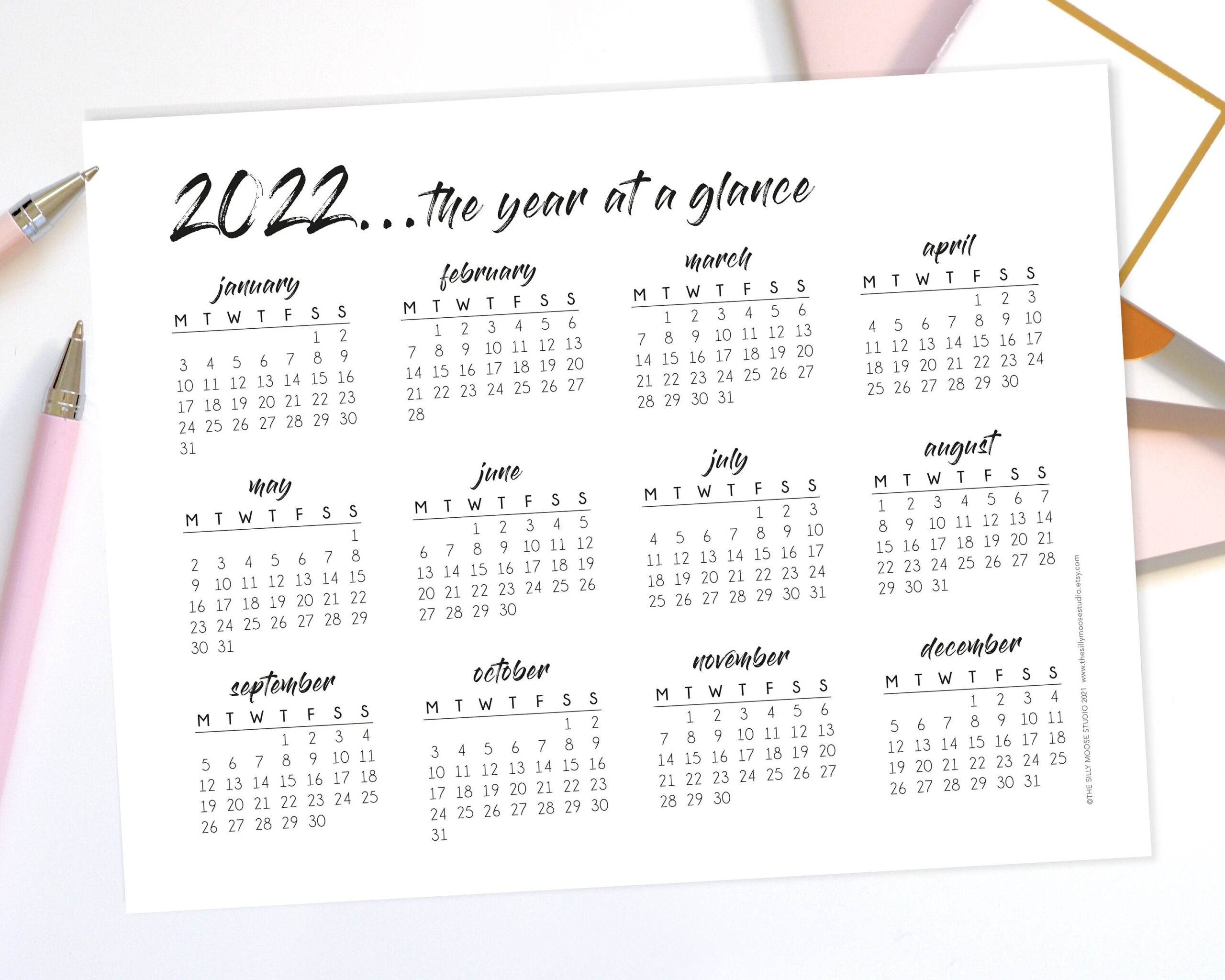 2022 Yearly Calendar Printable Monday Start Landscape Year intended for What Date Does Gcu Start 2022