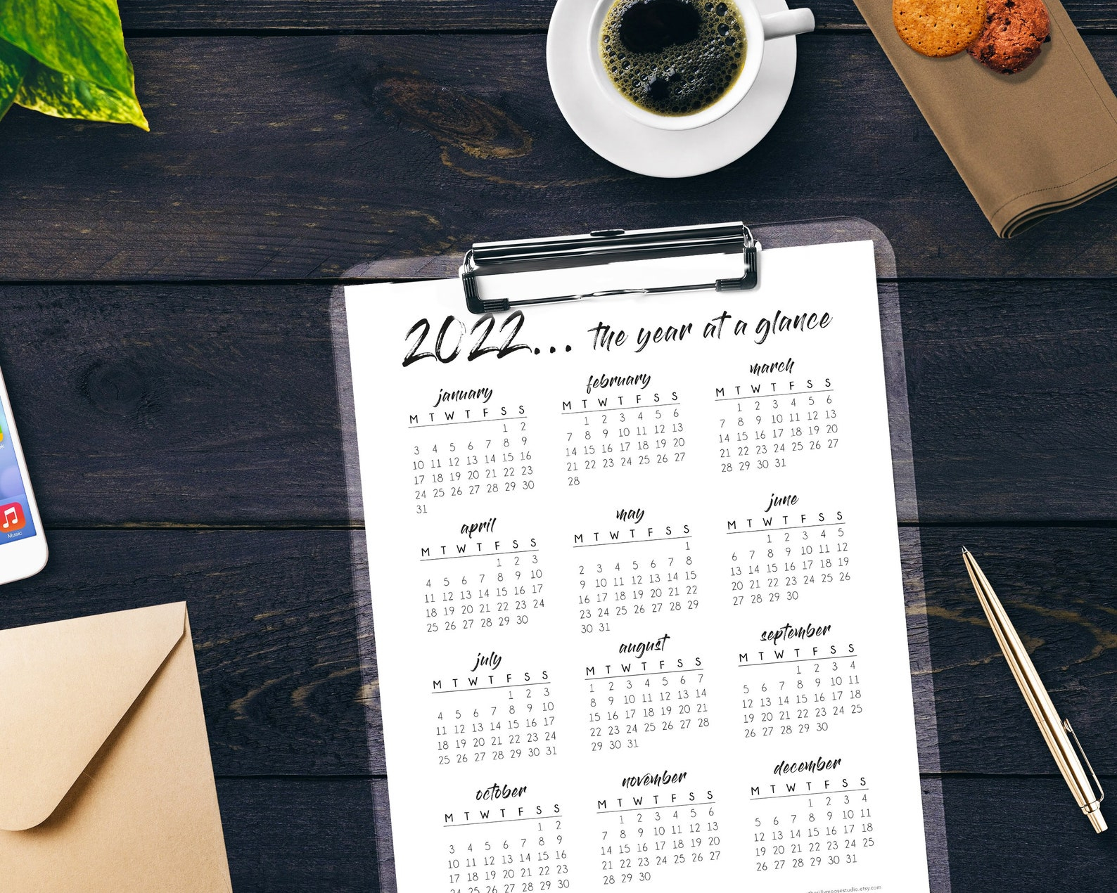 2022 Yearly Calendar Printable Monday Start Year At A | Etsy regarding What Date Does Gcu Start 2022