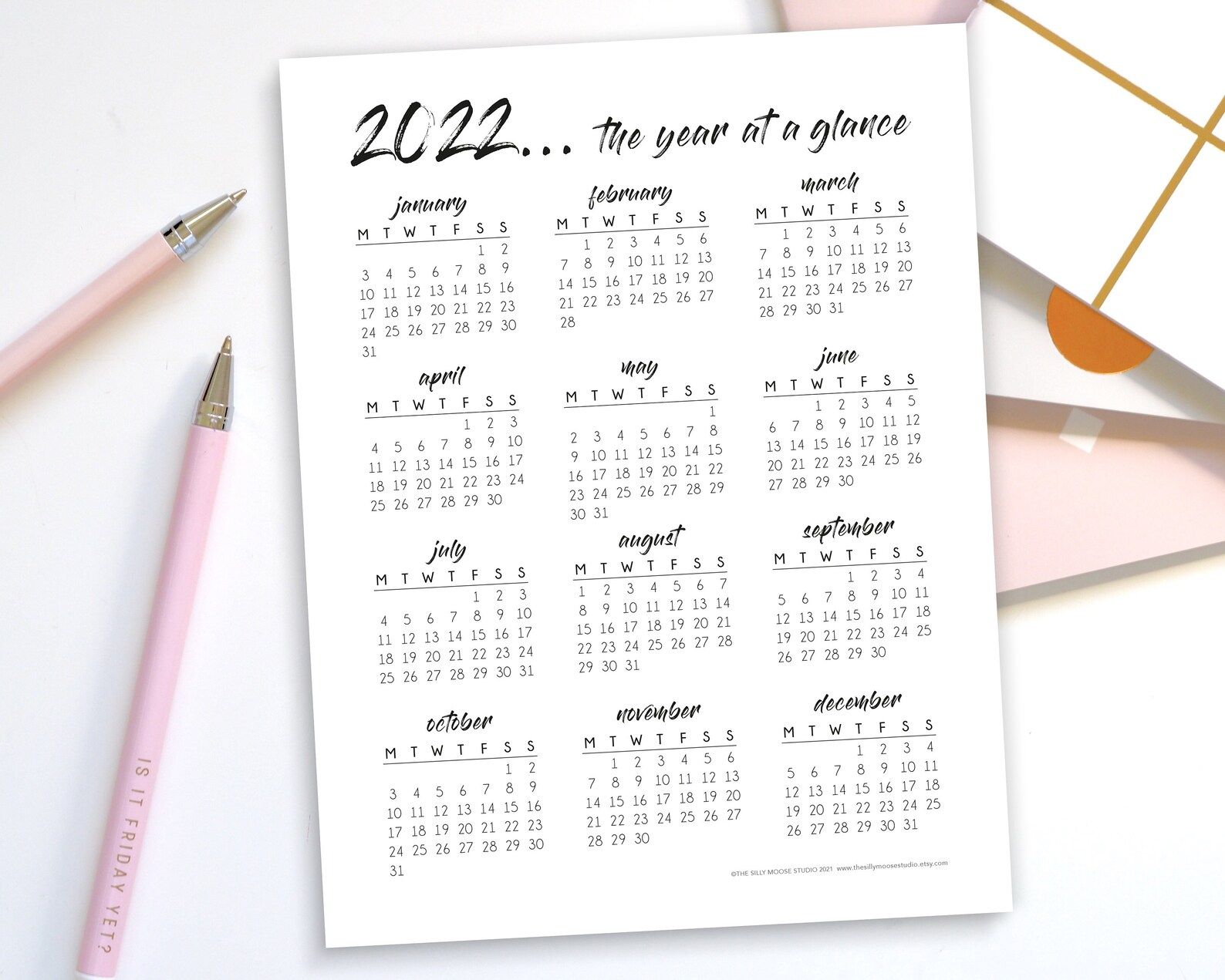2022 Yearly Calendar Printable Monday Start Year At A | Etsy with What Date Does Gcu Start 2022