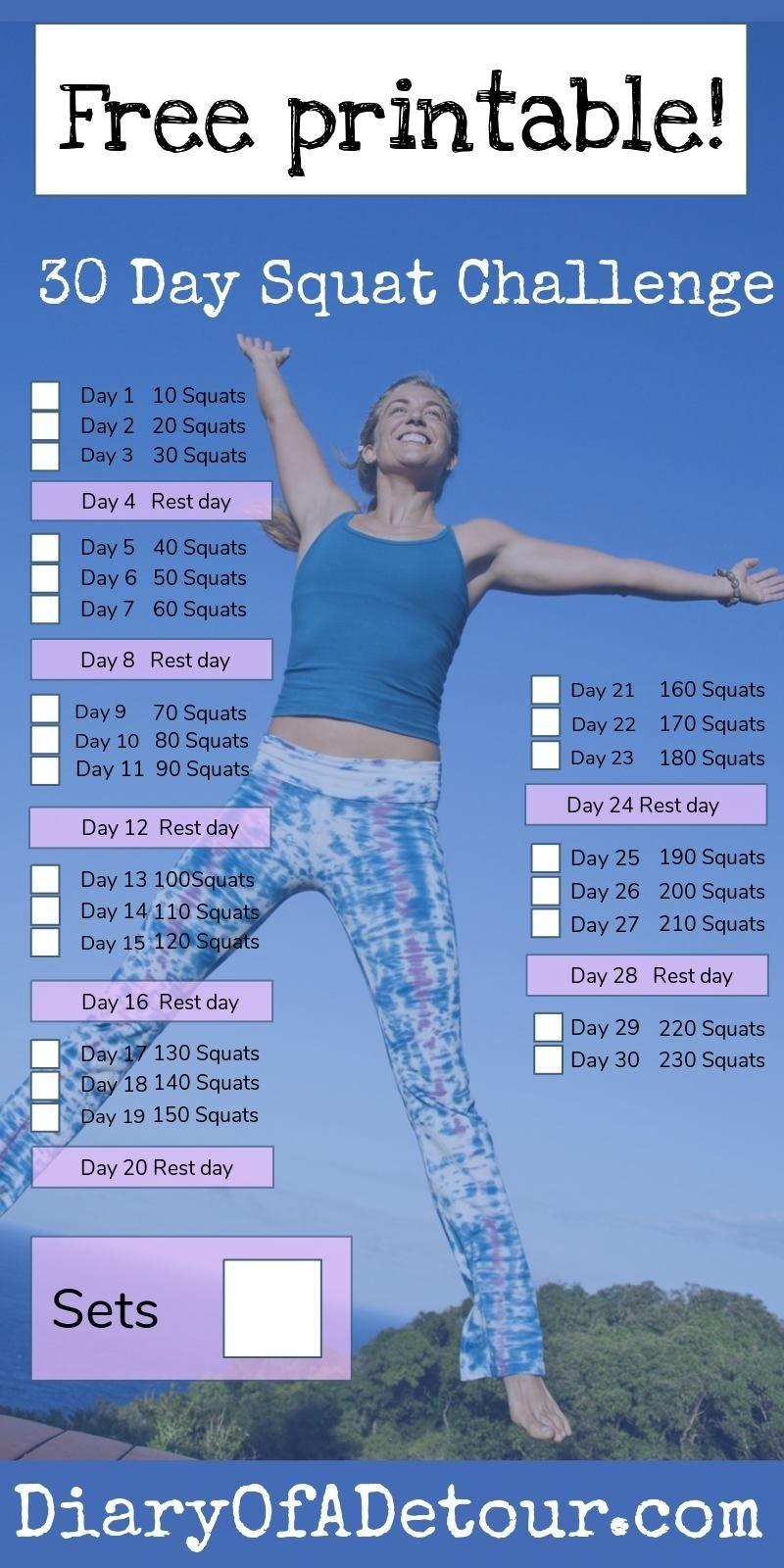 30 Day Fitness Challenge Printable - Template Calendar Design in 30 Day Fitness Calendar