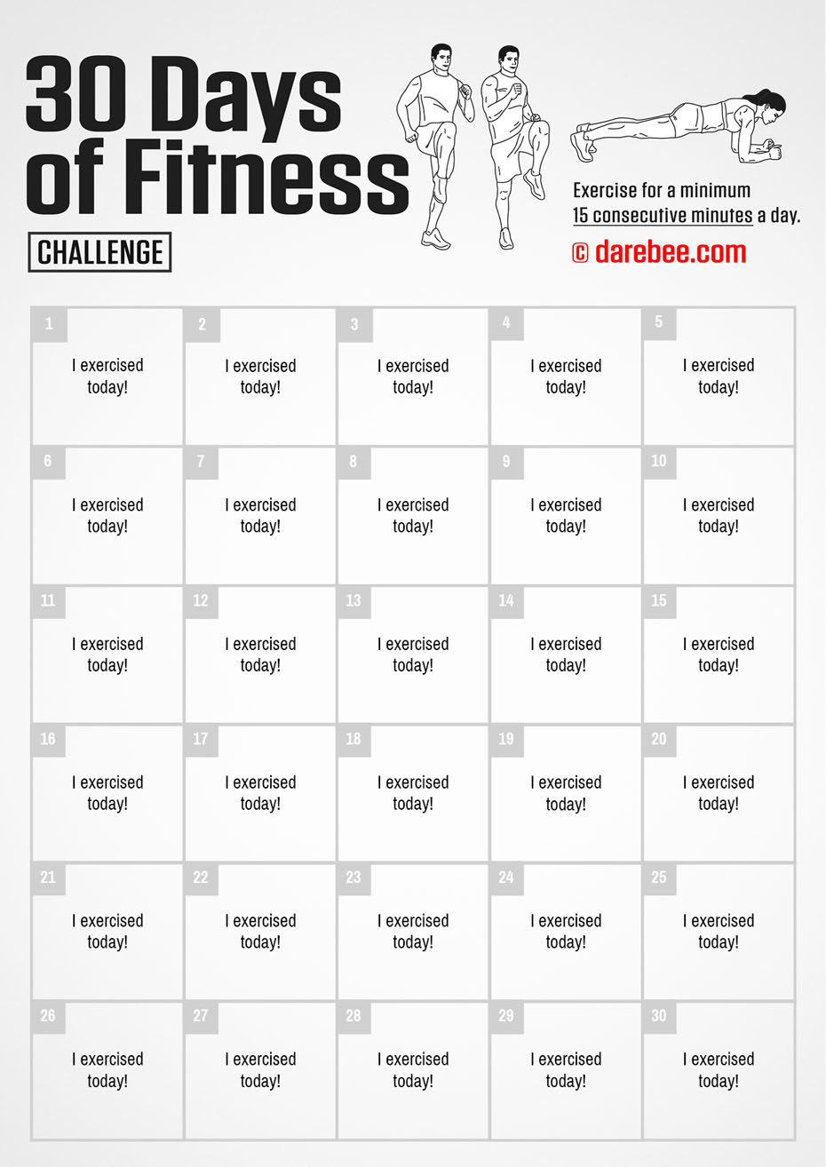 30 Days Of Fitness throughout 30 Day Fitness Calendar