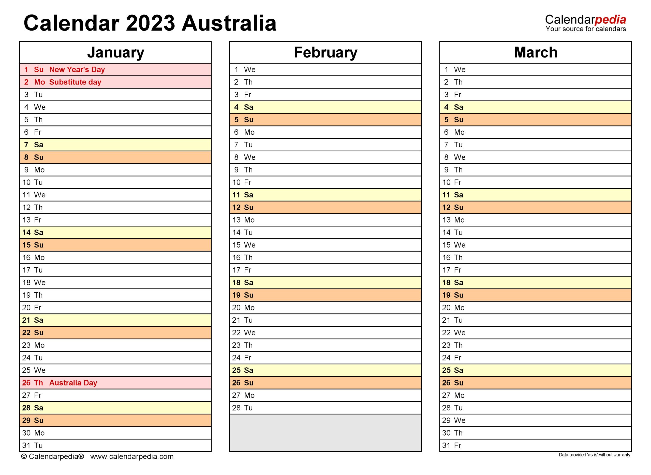 Australia Calendar 2023 - Free Printable Pdf Templates inside 4 5 4 Retail Calendar 2022 2023