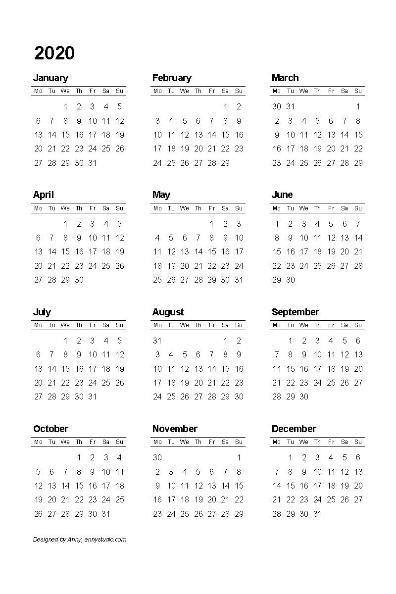 Calendar 2020 Year At A Glance Free Printable - Calendar inside Free Printable Julian Date Calendar 2022
