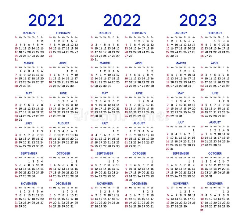 Calendar Layouts For 2021, 2022, 2023 Years Stock Vector with regard to 4 5 4 Retail Calendar 2022 2023