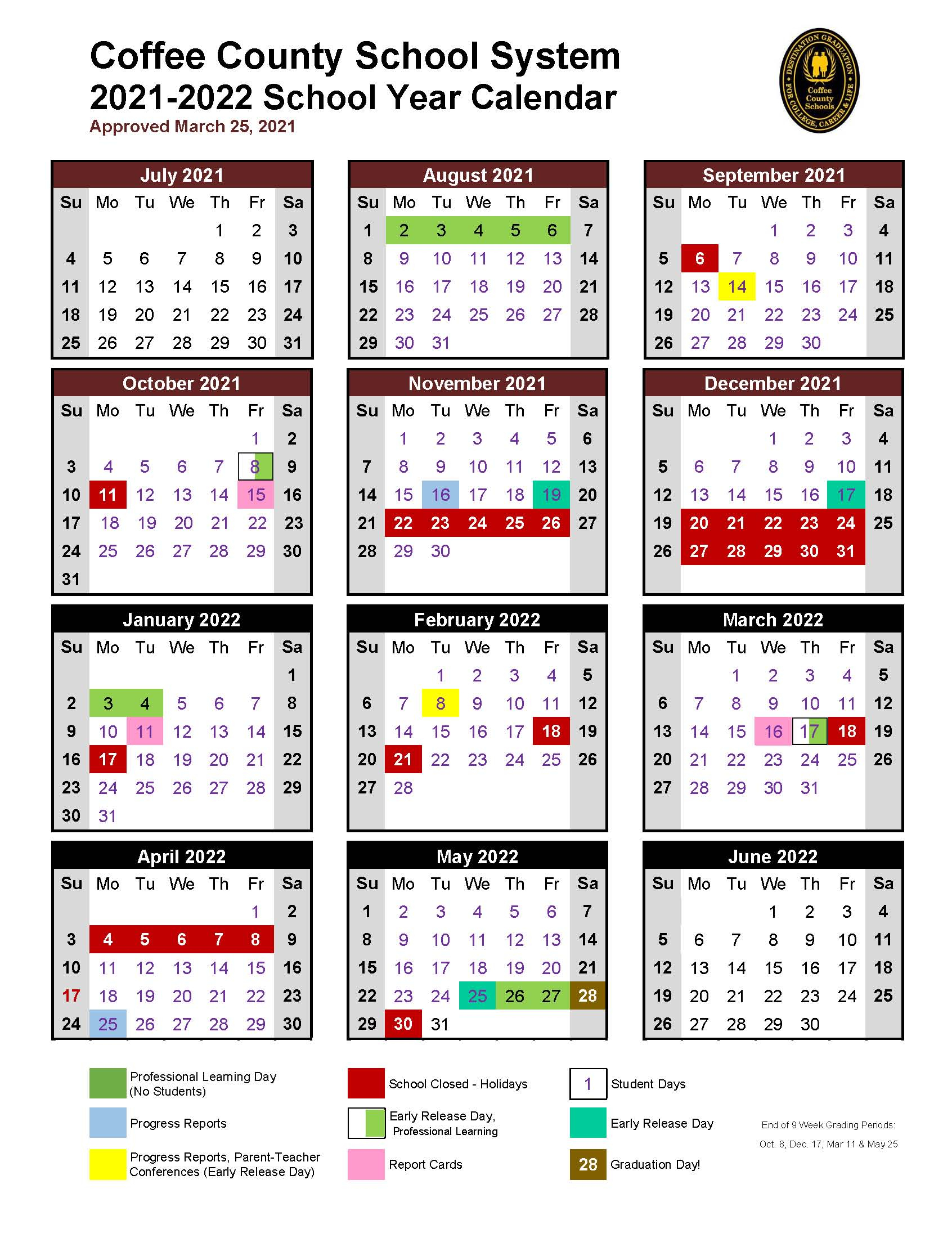 Coffee County Schools Calendar 2021 And 2022 pertaining to Georgia State Holidays 2022