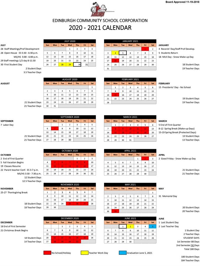 Corporation Calendar - Edinburgh Community Schools throughout Johnson County Nc School Calendar 2022 2023