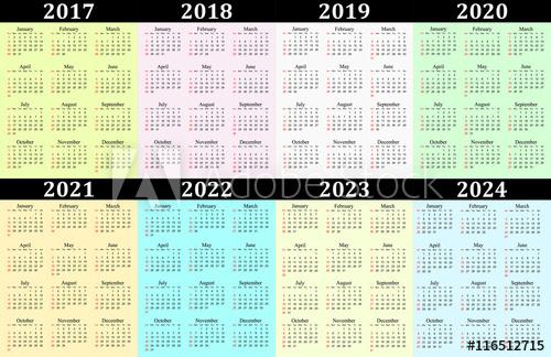 """Eight Year Vector Calendar - 2017, 2018, 2019, 2020, 2021 pertaining to 4 5 4 Retail Calendar 2022 2023"