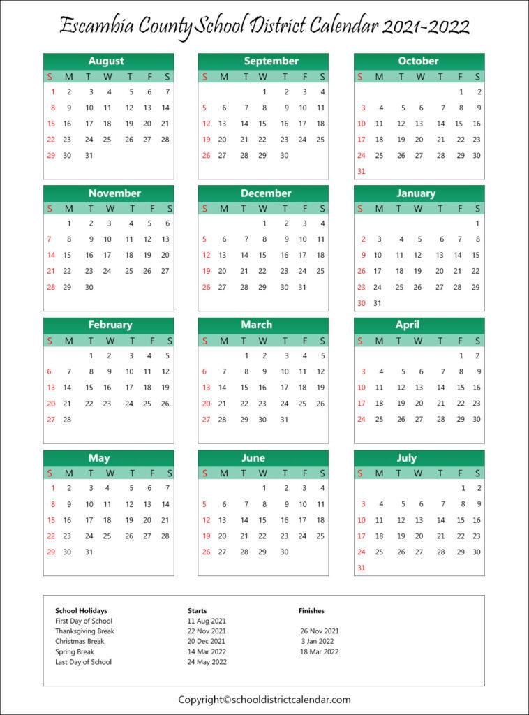 Escambia County School District Calendar Holidays 2021-2022 regarding Fresno Unified Academic Calendar 2022