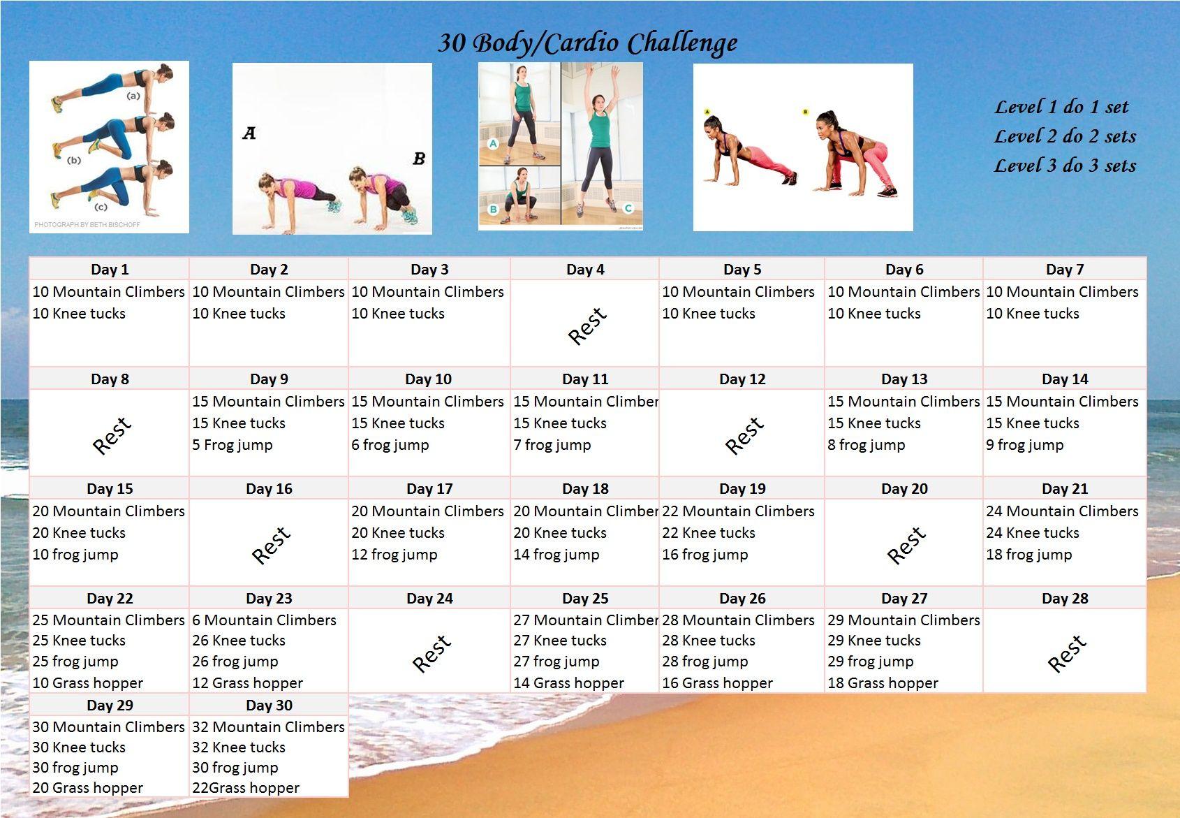 Fitness Challenge: 30 Day Body/Cardio Calendar Challenge throughout 30 Day Fitness Calendar