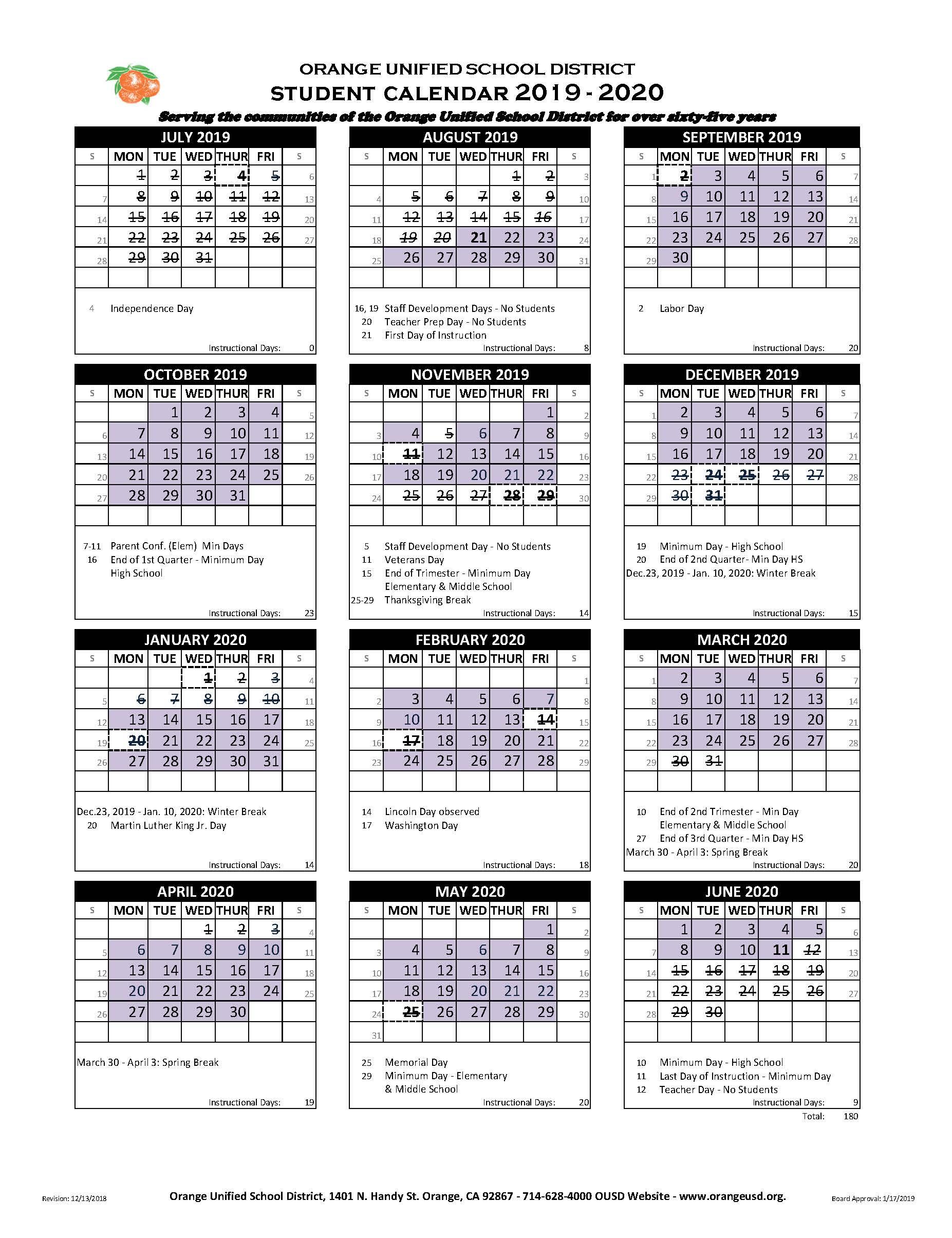 Fontana School District 12 Month Employee Calendar throughout Mifflin County School District Calendar