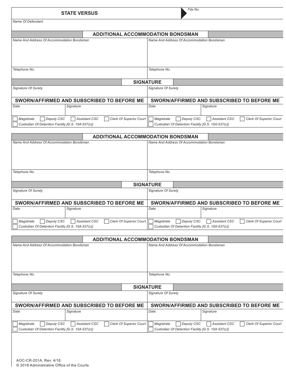 Form Aoc-Cr-201A Download Fillable Pdf Or Fill Online for Nc Court Dates By Defendant Name
