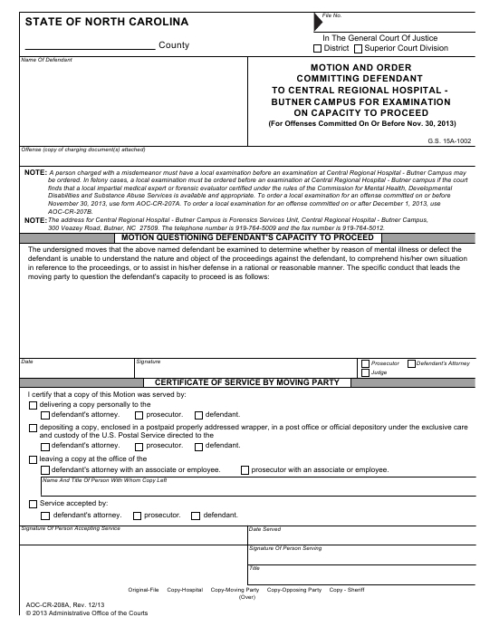 Form Aoc-Cr-208A Download Fillable Pdf Or Fill Online throughout Nc Aoc Court Calendar Query