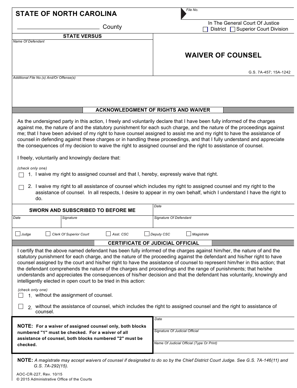 Form Aoc-Cr-227 Download Fillable Pdf Or Fill Online with Nc Court Dates By Defendant Name