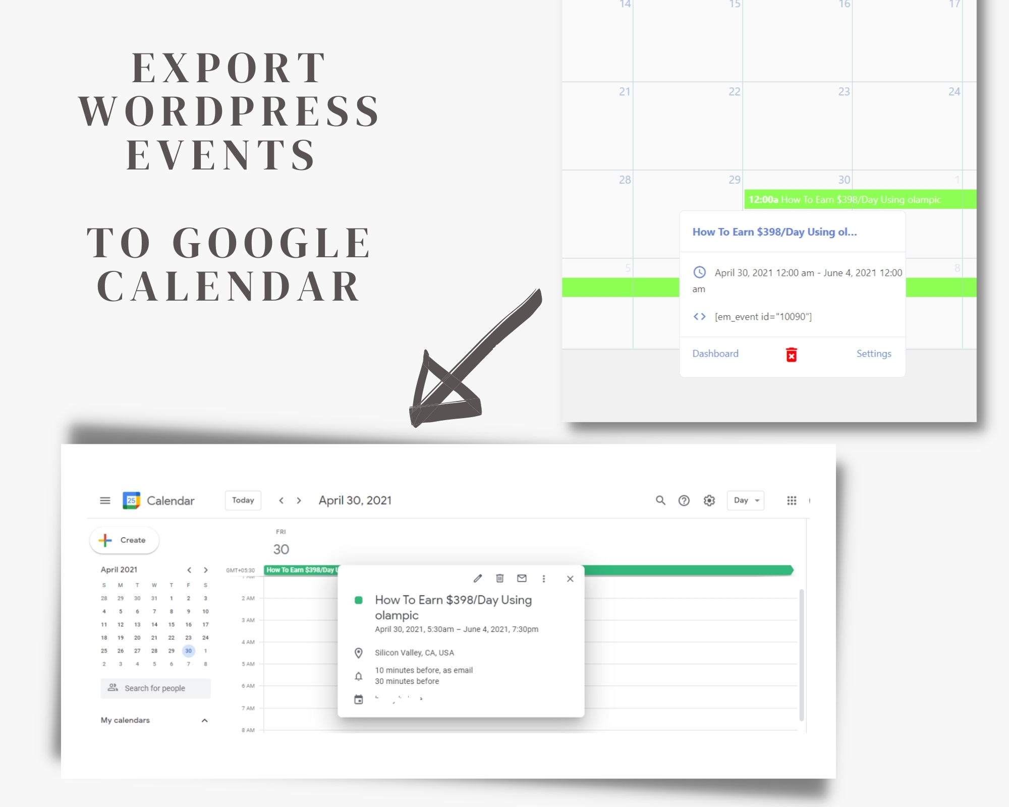 How To Export Or Add Events To Google Calendar From WordPress? with regard to Add Sunrise And Sunset To Google Calendar