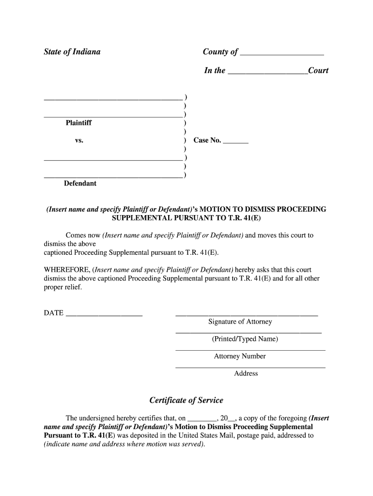 In Motion To Dismiss Proceeding Supplemental Pursuant To T for Nc Court Dates By Defendant Name