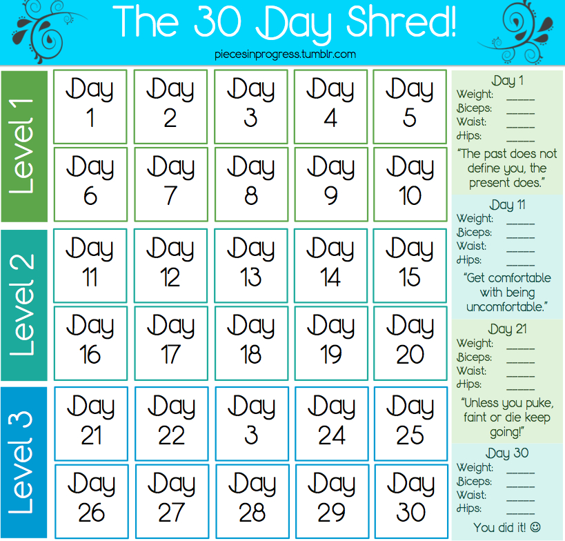 Just Yasmeen - 30 Day Shred within 30 Day Fitness Calendar
