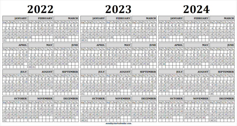 Monday Start Three Year Calendar 2022 2023 And 2024 | Free intended for What Date Does Gcu Start 2022