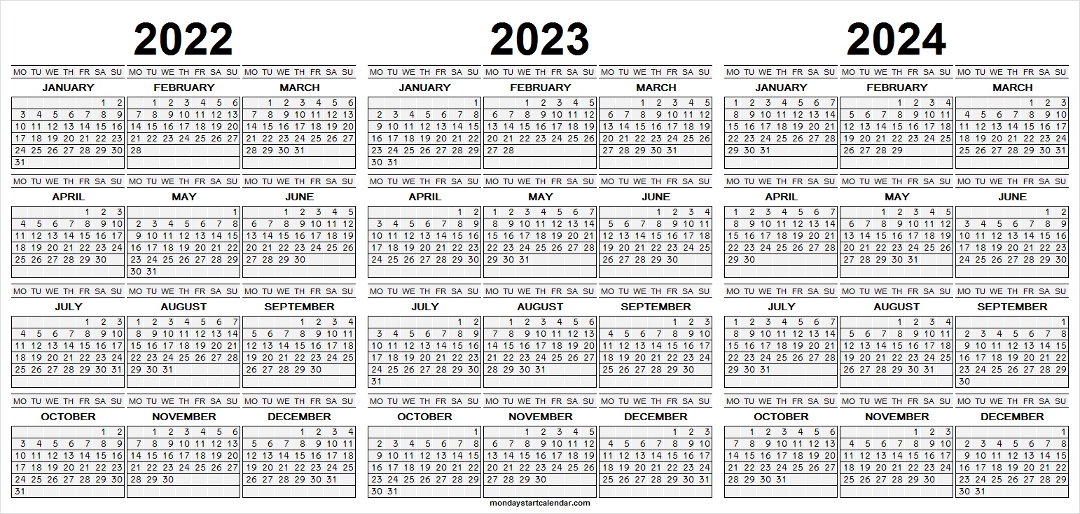 Monday Start Three Year Calendar 2022 2023 And 2024 | Free within What Date Does Gcu Start 2022