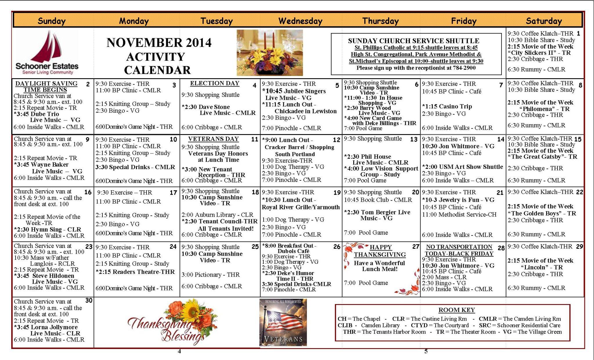 November 2014 Activity Calendars inside Activity Calendar Assisted Living
