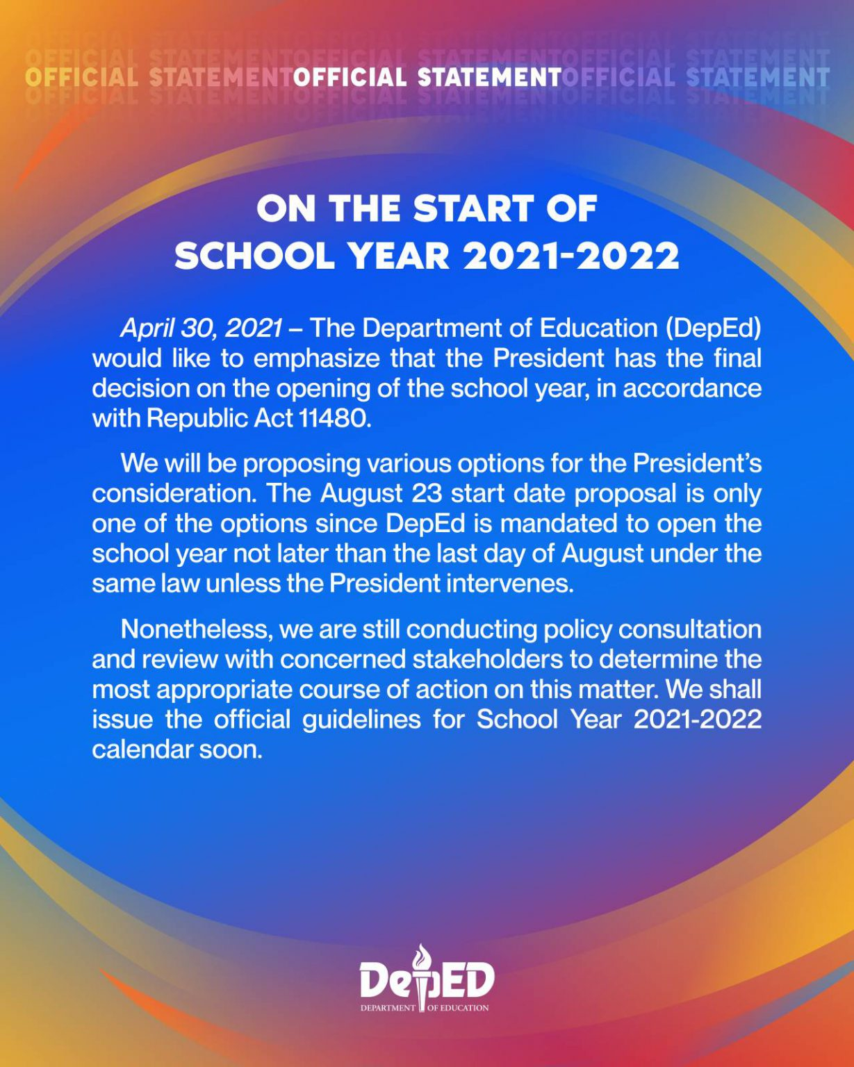 On The Start Of School Year 2021-2022 | Department Of inside What Date Does Gcu Start 2022
