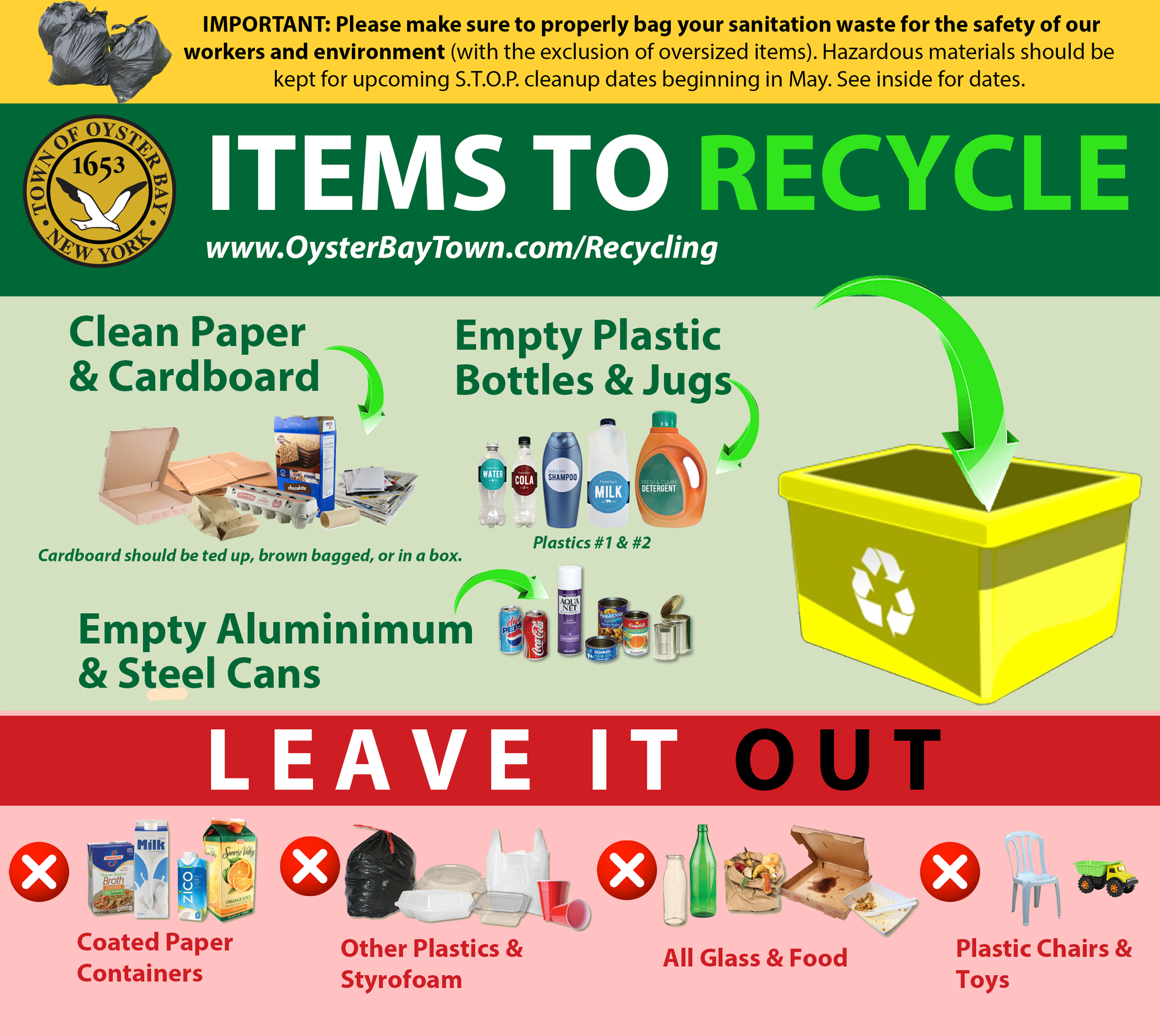 Recycling Information (S.o.r.t.) - Town Of Oyster Bay pertaining to Town Of Oyster Bay Sanitation Schedule 2022