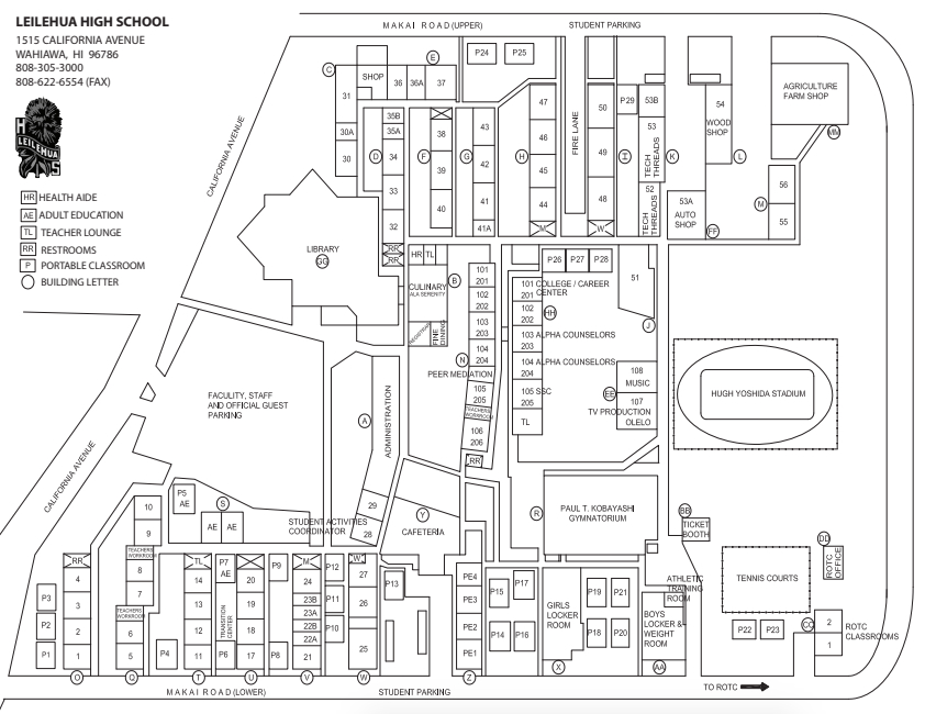 School Map - Students - Leilehua High School within Hawaii School Calendar 2022 2023