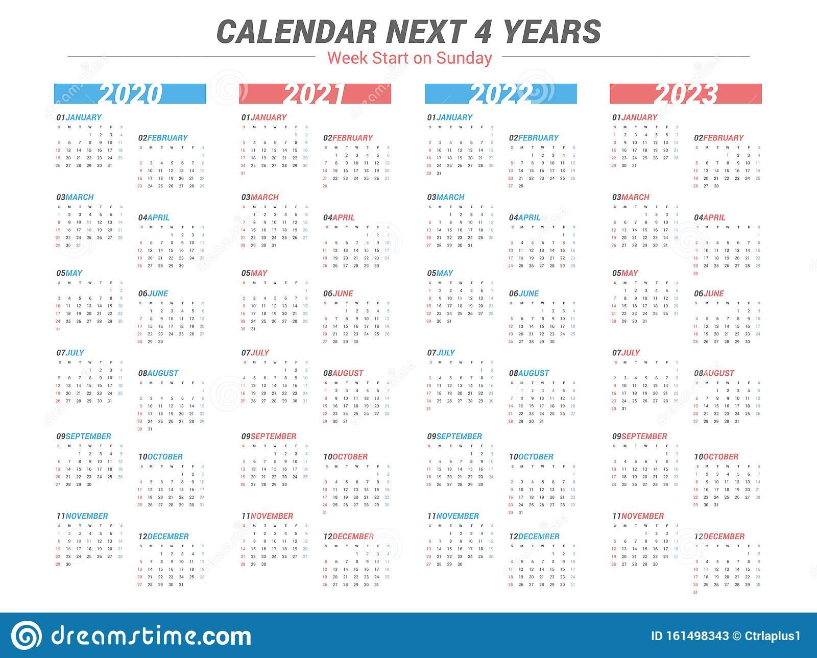 Simple Calendar For 4 Years 2020 2021 2022 2023. Week inside 4 5 4 Retail Calendar 2022 2023