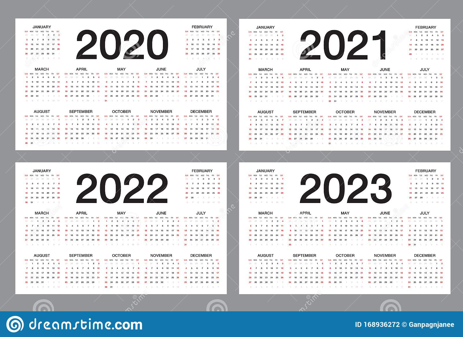 Simple Calendar Template For 2020, 2021, 2022, 2023 Years throughout 4 5 4 Retail Calendar 2022 2023
