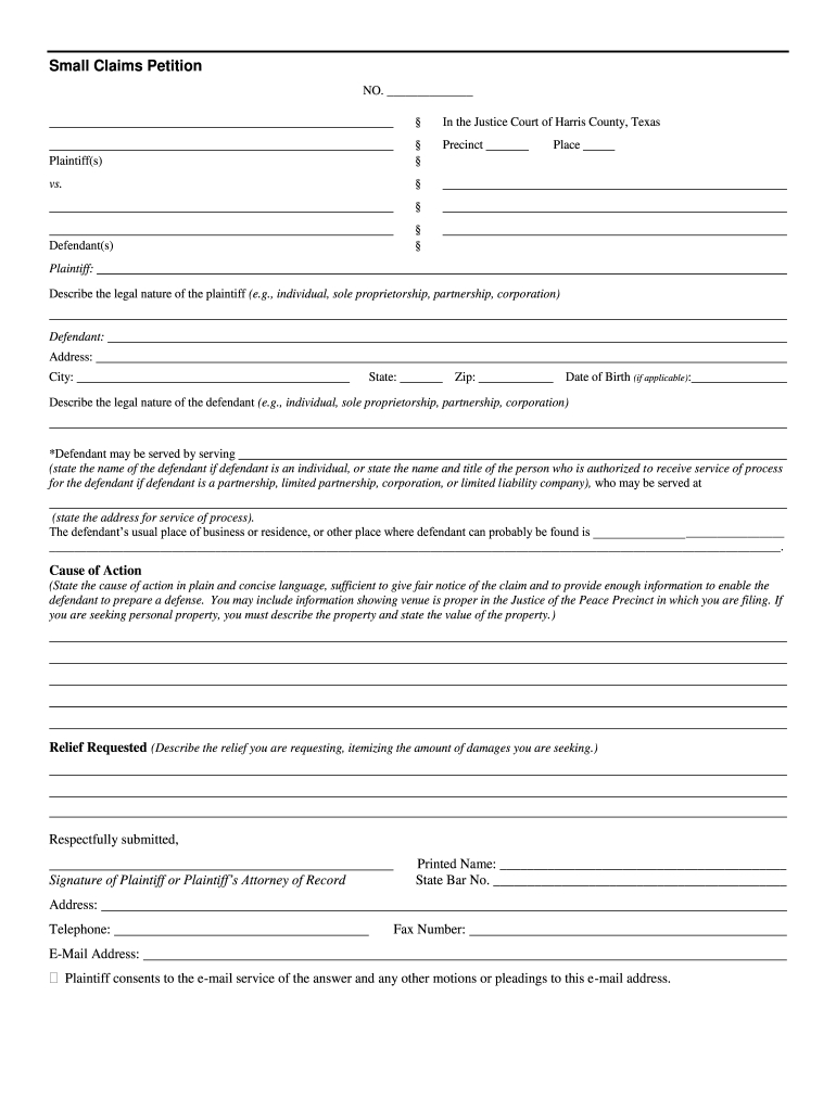 Tx Small Claims Petition - Complete Legal Document Online in Nc Court Dates By Defendant Name