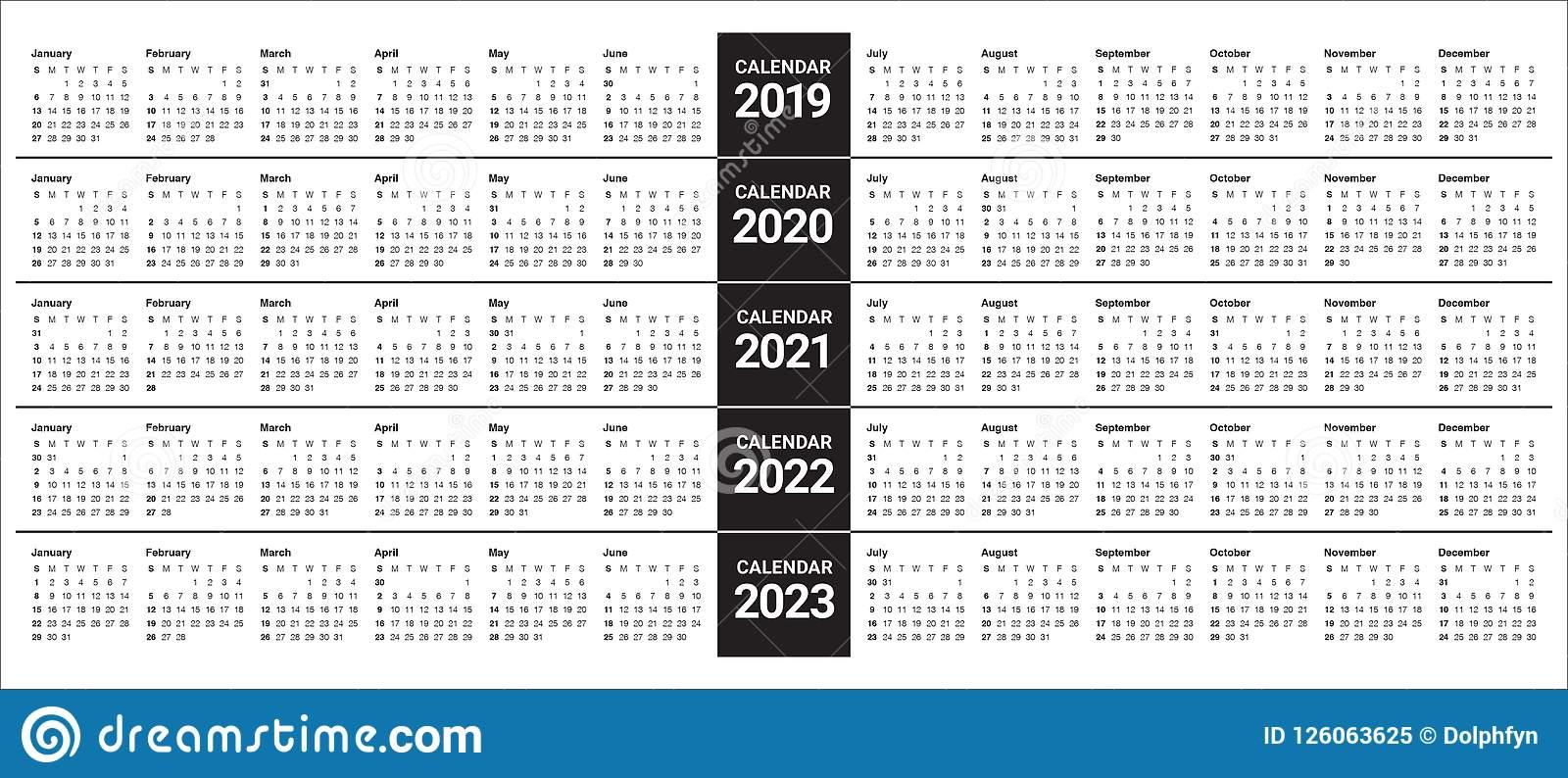 Year 2019 2020 2021 2022 2023 Calendar Vector Design intended for 4 5 4 Retail Calendar 2022 2023