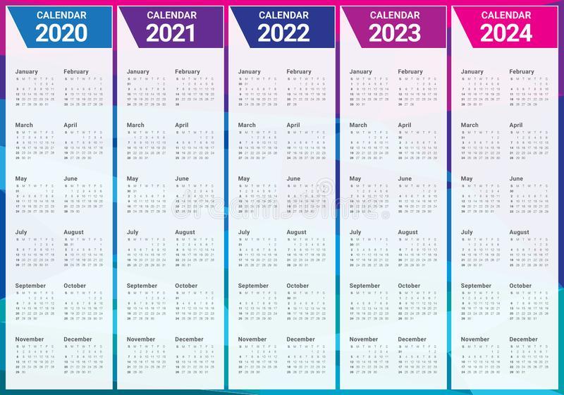 Year 2020 2021 2022 2023 2024 Calendar Vector Design intended for 4 5 4 Retail Calendar 2022 2023